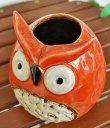 画像3: 輸入雑貨 フラワーベース 陶器 フクロウ オレンジ レッド 赤 トトロ風 花瓶 プランター フラワーポット シャビーシック H16cm 29273 (3)