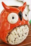画像4: 輸入雑貨 フラワーベース 陶器 フクロウ オレンジ レッド 赤 トトロ風 花瓶 プランター フラワーポット シャビーシック H16cm 29273 (4)