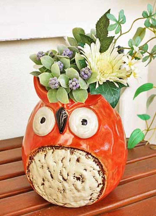 画像1: 輸入雑貨 フラワーベース 陶器 フクロウ オレンジ レッド 赤 トトロ風 花瓶 プランター フラワーポット シャビーシック H16cm 29273 (1)