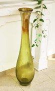 画像1: 輸入雑貨 Grande フルートベース LL 花瓶 ガラス アンバー グリーン 手吹き H98cm シャビーシック アンティーク風 レトロ CGD-51 送料無料 (1)