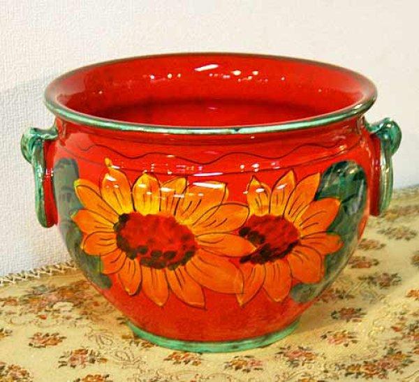 画像1: イタリア製 輸入雑貨 鮮やかな赤とひまわり柄の素敵なプランター 鉢カバー ヒマワリ 向日葵 サンフラワー Ilponte イルポンテ 送料無料 23-1295  (1)