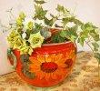 画像4: イタリア製 輸入雑貨 鮮やかな赤とひまわり柄の素敵なプランター 鉢カバー ヒマワリ 向日葵 サンフラワー Ilponte イルポンテ 送料無料 23-1295  (4)