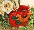 画像5: イタリア製 輸入雑貨 鮮やかな赤とひまわり柄の素敵なプランター 鉢カバー ヒマワリ 向日葵 サンフラワー Ilponte イルポンテ 送料無料 23-1295  (5)